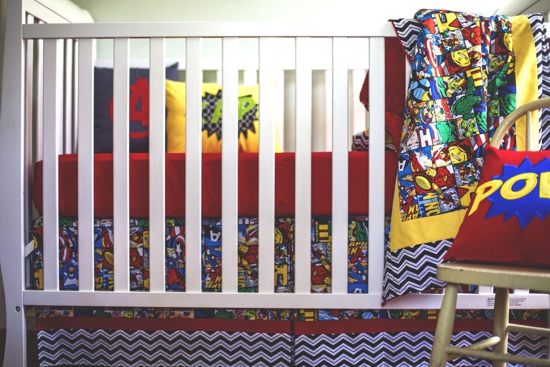 avenger bumperless crib bedding set