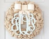 Front Door Wreaths, Personalized Baby Wreath, Monogram Wreaths for the Door, Interchangeable Bow