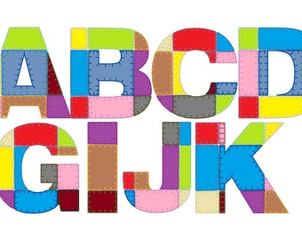 Classic grild Patchwork rag edges applique alphabet and numbers -  machine embroidery applique designs - 4x4, 5x7, 6x10  INSTANT DOWNLOAD