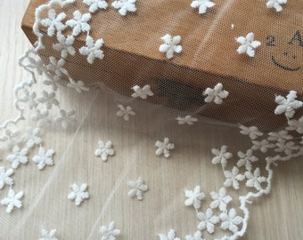 Lovely Floral Tulle Lace Trim Cotton Flower Embroidered Lace Trims 4.33 Inches Wide 2 yards