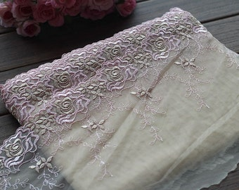 2 Yards Lace Trim Floral Embroidered Tulle Lace Trim 8.26 Inches Wide High Quality