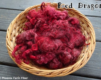 "1 oz Hand Dyed Mohair Locks in ""Red Dragon,"" Deep Red, Maroon, Overdye, Spinning, Blending Locks, Lockspun, Corespun, Dark Red, Photo Prop"