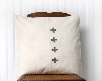 Cross Pillow cover ,Cushion cover in French antique Hemp linen,Charcoal grey and beige, euro sham 20x20 inches,Hand Wood Block Printing
