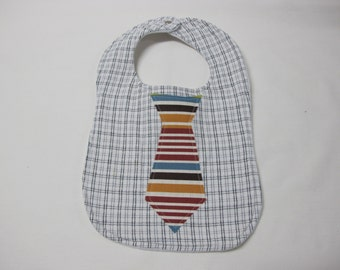Striped tie baby boy bib made from a mens upcycled shirt