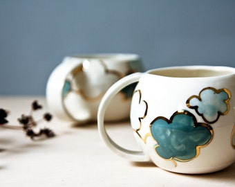 made to order, ceramic mug 'STORM CLOUDS', large coffee mug, Irish pottery mug, ceramics and pottery made in Ireland, white and blue pottery