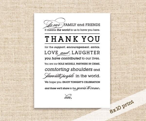 Wedding Reception Thank You Sign Printable DIY 8x10
