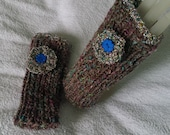 Multi-coloured knitted fingerless gloves or mittens or car gloves or mitts, size small to medium