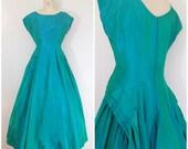 Vintage 1950s Ballgown / Teal Green Sharkskin Dress / Formal Gown / Medium