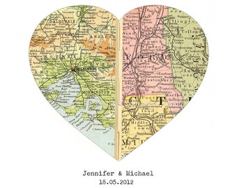 Personalized Map Art, Custom Wedding Gift, Anniversary Gift, Engagement, Heart Map Print, Valentines Gift, Custom Map - Worldwide Locations