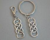 Double Infinity Symbol Key Chain Zipper Pull Eternal Love Forever Friendship Couple Best Friend KeyChain Ring Revenge Purse Charm