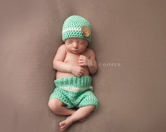 Newborn boy crochet outfit, Crochet baby shorts and hat set, baby prop, newborn prop baby shower gift