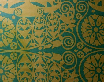 Soul Blossoms Temple Doors Sateen Fabric by the yard Green Amy Butler Home Dec