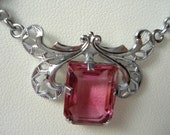 Art Deco Pendant Necklace Pink Glass Rhinestone 20's 30's