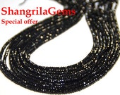 "SALE 13"" 2mm AAA Black Spinel beads spb002 diamond polished-our photo has been copied by other Etsy sellers & we are unhappy"