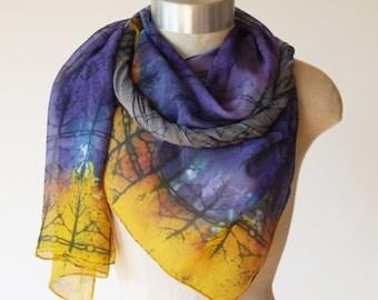 printed scarf, fall wrap, purple and orange silk chiffon scarf