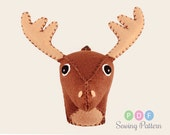 Small Felt Animal, Plush Woodland Reindeer Sewing Pattern, DIY Gift, Faux Taxidermy Deer Moose Tutorial PDF