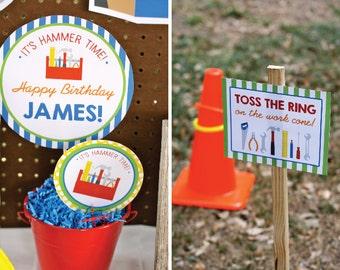 Tool Birthday, Tool Birthday Invitation, Construction Birthday, Tool Printables, Tool Birthday Decorations, Lauren Haddox Designs