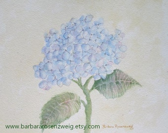 Hydrangea Print, Blue Hydrangea Painting, Hydrangea Wall Art, Blue Hydrangea Watercolor, Flower Wall Art, Shabby Chic Art, Rosenzweig Art