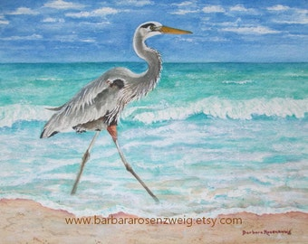 Beach Bird Print, Beach Bird Painting, Beach Bird Wall Art, Blue Heron Watercolor, Beach Home Decor Art, Coastal Art Heron Wildlife Painting