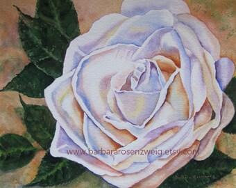 Flower Print, Flower Painting, Rose Print, Rose Painting, Flower Wall Art, Rose Home Decor, Rose Wall Art White Rose Gift for Her Garden Art