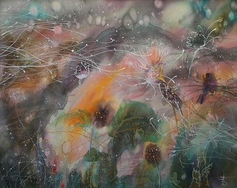 Country landscape, mixmedia, wind, storm, misty sunset, spring birds songs, psychology, secret garden, vivid painting, ecstatic art, duende