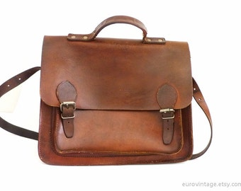 Vintage Leather Satchel Bag Briefcase School Shoulder Bag Brown 70s