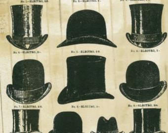 Bowler Hats - SPS164 -11x17 Artist Print - Gentlemen - Scrapbooking - Decoupage