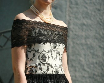 Off shoulder black lace and jersey, velour crop top for formal simple, going out, every day