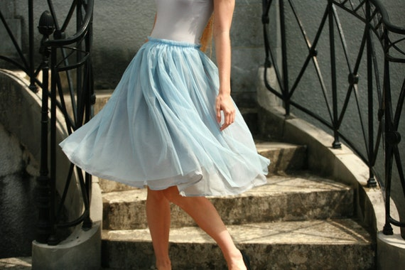 Light blue tulle midi skirt with grey viscose by DGstyle on Etsy