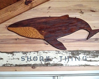 Seaside Sale. Large Vintage Wood Whale, Nautical Wall Decor, Hand Made