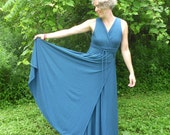 Organic Clothing - Maxi Dress - Wrap Style Organic Cotton - Shown in Indigo - Choose Your Color