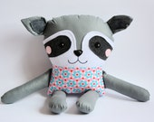 Raccoon Miss Barbra - safe toy for a small child 40 cm, fabric toy, soft toy, handmade toy, toy for girl