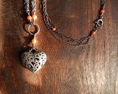 Sterling Silver Triple Chain Necklace with Antique Corals and Heart Pendant - Boho Chic Upcycled Jewelry