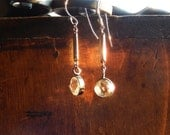 Delicate Earrings with Rock Crystal and Antique Victorian Link, Boho Bride, Repurposed Jewelry
