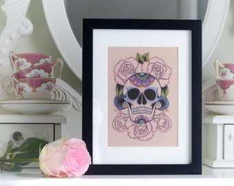 Sugar Skull on a Bed of Roses Day of the Dead tattoo flash print