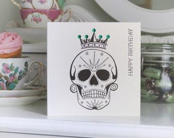 Emperor Sugar Skull Day of the Dead Tattoo Handmade Birthday Card