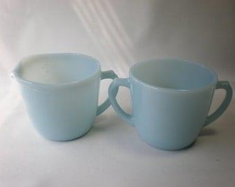 Vintage Delphite Blue Glass Fireking Cream and Sugar