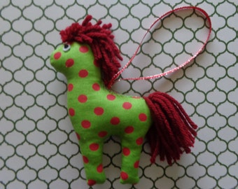 Polka Dot Fabric Horse Christmas Ornament by Pepperland