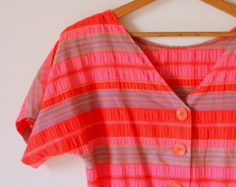 Vintage SCHOOL GIRL STRIPES Dress...size medium to large..mod. striped. red dress. sundress. 1960s dress. pink dress. twiggy. wiggle. twirl
