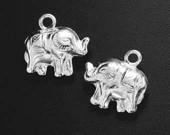 4 of 925 Sterling Silver Elephant Charms 8x12 mm. :th1053