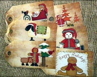 Set of 6 Large Primitive Christmas Gift Tags and Ribbon