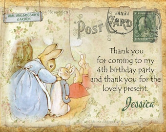 4 x Peter Rabbit Personalised Thank you Cards with Envelopes