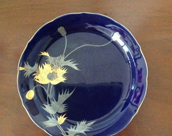 Vintage Hand Painted Small Plate Cobalt Blue with Gold and Silver Poppy / Japan // FL