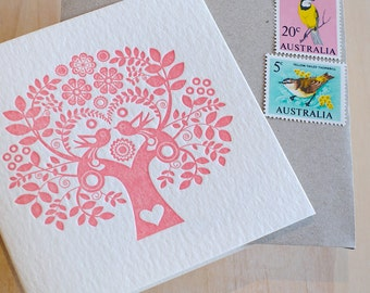 Mother's Day's, sweet pretty card, Valentine's Day Spring, Letterpress Card Scandinavian Folk Style rose pink blush Tree of Life, Nordic
