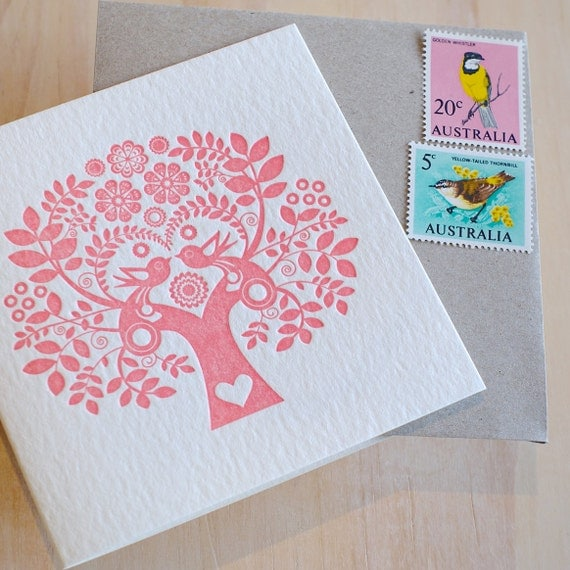 Valentine, Mother's Day 's Day card Mothers Day Spring, Letterpress Card Scandinavian Folk Style rose pink blush Tree of Life. Made in Aus