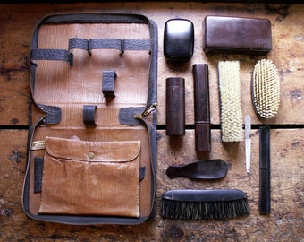Vintage Men's Leather Travel Toiletry Kit - Great Guy Gift