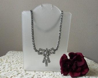 Antique Rhinestone Necklace - Bride, Wedding Accessory, Vintage Glamour, Something Old, Rehearsal Dinner, Honeymoon, Destination Wedding
