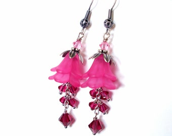 Fuchsia lucite flower earrings - ruby red crystal chain dangles, lucite flower layer earring, antiqued silver bead caps, pink flower jewelry