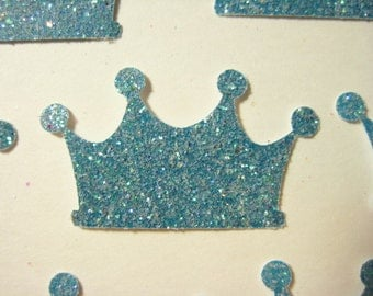25 Blue Glittered Crowns punch die cut confetti scrapbooking embellishments E1633