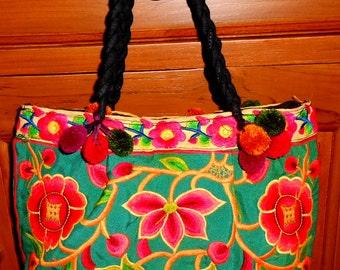 Thai Embroidered bag-Thai Pom Pom handbag-Hmong Embroidered Bag-Hilltribe Bag-Hmong Shoulder Bag-Thai Tote Bag-Bohemian bag-Ethnic Handbag